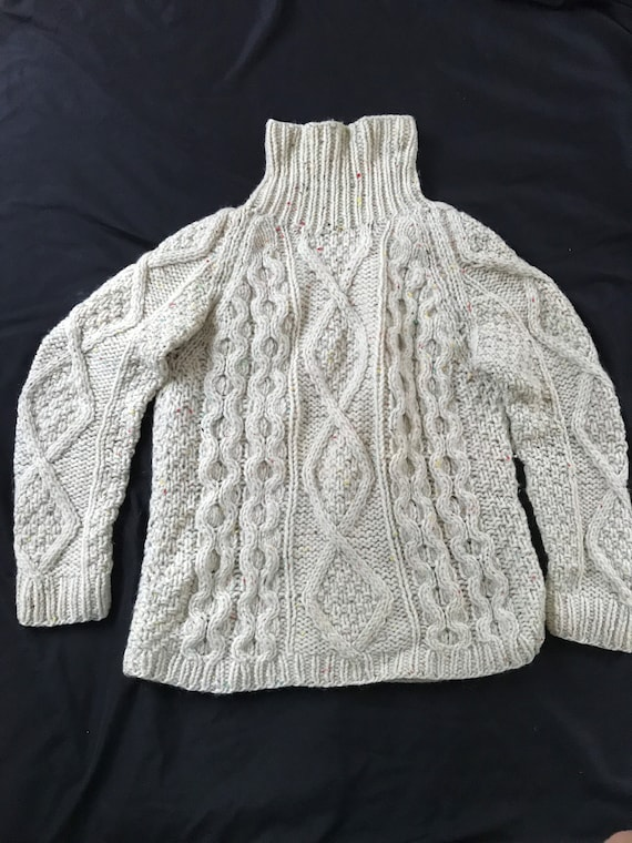 Women's hand knit cable turtleneck fisherman's swe