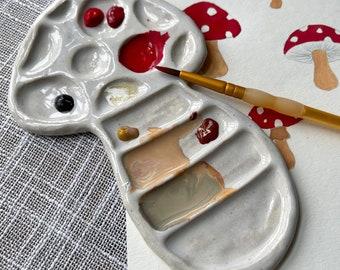 Mushroom Paint Palette, Handmade Ceramic *Ready to Ship*