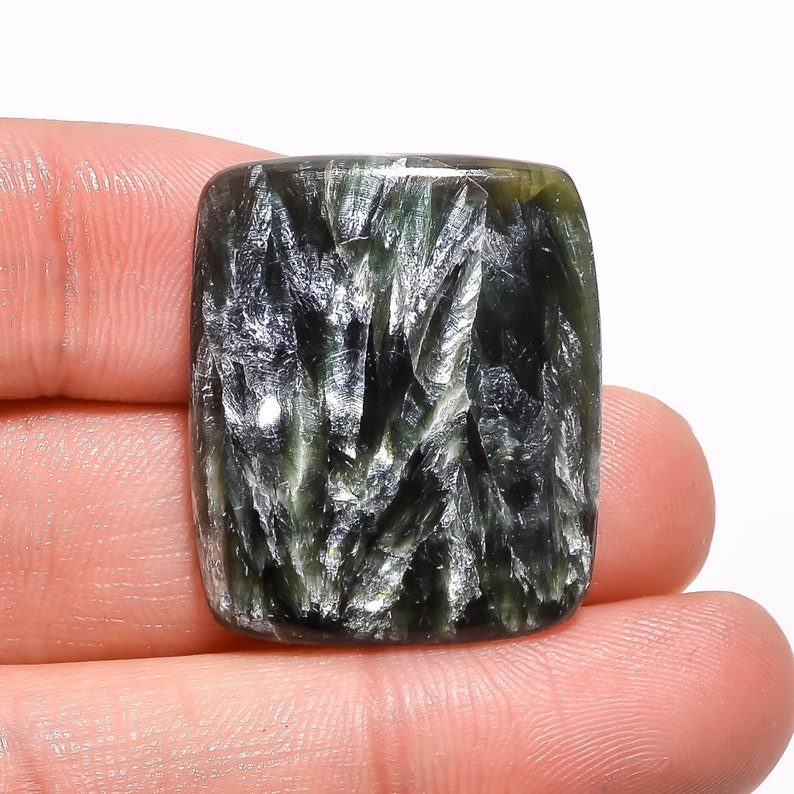 28X23X5 mm SB-3682 Excellent Top Grade Quality 100/% Natural Seraphinite Radiant Shape Cabochon Loose Gemstone For Making Jewelry 31 Ct