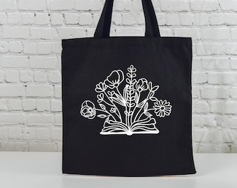 """Book With Flowers   Book Lovers Tote   Shopping Tote   Library Bag   BooK Quotes   Gifts for Readers   Black Tote With 4"""" Gusset"""