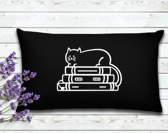 Cat On Books | Book Lovers Pillow Cover | Gift for Reader| Home Decor | Decorative Pillow Cover | Cover | Gifts for Women