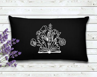 Book With Flowers | Book Lovers Pillow Cover | Gift for Reader| Home Decor | Decorative Pillow Cover | Cover | Gifts for Women