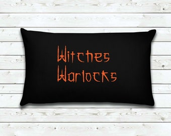 Witches Warlocks | Halloween Pillow Cover |  Home Decor | Decorative Pillow Cover | Cover | Gifts for Women