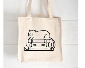 Cat On Books    Book Lovers Tote   Shopping Tote   Library Bag   Book Sayings  Gifts for Readers   Natural Flat Tote