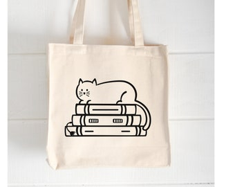Cat on Books   Book Lovers Tote   Shopping Tote   Library Bag   Funny Canvas Bag  Humorous Book Sayings  Gifts for Readers  