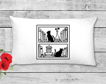 Cats On BookShelves | Book Lovers Pillow Cover | Gift for Reader| Home Decor | Decorative Pillow Cover | Cover | Gifts for Women