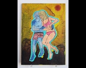 Incoherent Descending Star Dance - Collage Painting Art Original