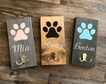 any name, any colour /& painted dog to look like your own Personalised painted Dog Lead Holder