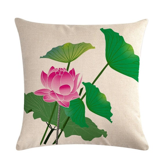 Blooming Lotus Flower Pillow Cover Throw Pillow Cover Sofa Etsy