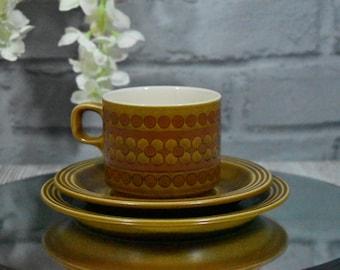 Vintage HORNSEA  < SAFFRON > Mug / Tea / Coffee Cup with Saucer and Side Plate