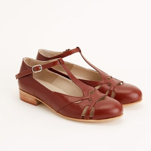 1920s Fashion & Clothing | Roaring 20s Attire Women Swing Dance Shoes Spring brown leather handmade by Harlem Shoes $189.44 AT vintagedancer.com