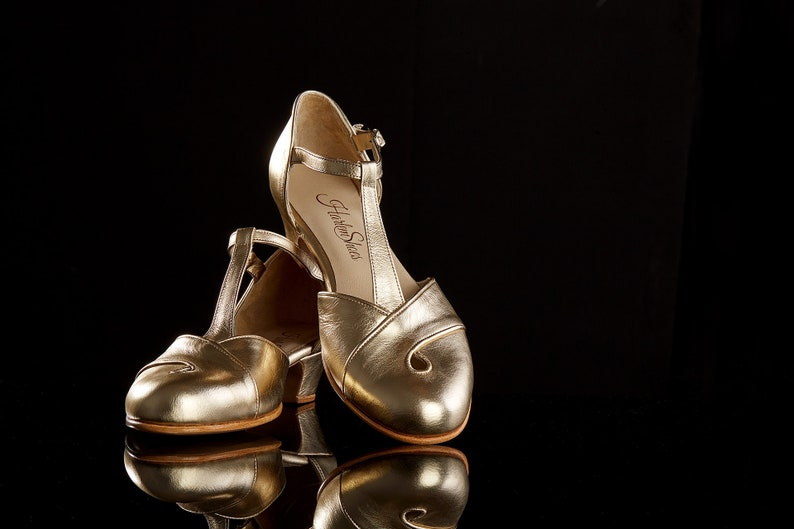 1930s Shoes – Art Deco Shoes, Heels, Boots, Sandals Women Swing Dance Shoes Muse gold leather handmade by Harlem Shoes $190.02 AT vintagedancer.com