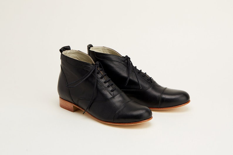 Victorian Clothing, Costumes & 1800s Fashion Women Swing Dance Shoes Smooth Boots black leather handmade by Harlem Shoes $209.02 AT vintagedancer.com