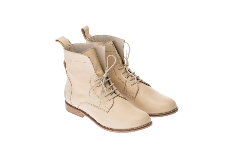 Victorian Clothing, Costumes & 1800s Fashion Women Swing Dance Shoes Harlem Boots beige leather handmade by Harlem Shoes $215.35 AT vintagedancer.com
