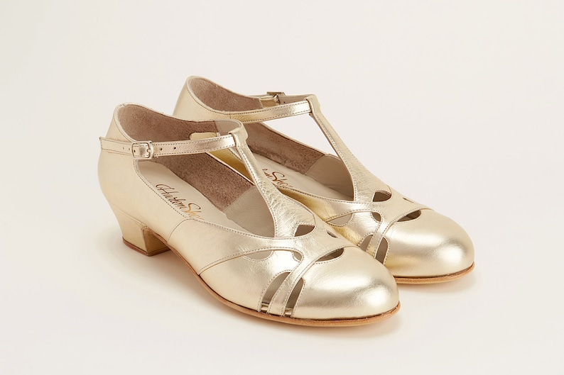 1930s Shoes – Art Deco Shoes, Heels, Boots, Sandals Women Swing Dance Shoes Spring platinum gold leather handmade by Harlem Shoes $190.02 AT vintagedancer.com