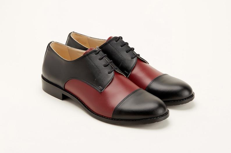 1970s Men's Clothes, Fashion, Outfits Men Swing Dance Shoes Men's California black & bordeaux eco leather handmade by Harlem Shoes $200.80 AT vintagedancer.com