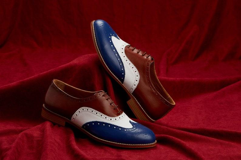 60s Mens Shoes | 70s Mens shoes – Platforms, Boots Men Swing Dance Shoes Men's Brogue blue brown & white leather handmade by Harlem Shoes $200.80 AT vintagedancer.com