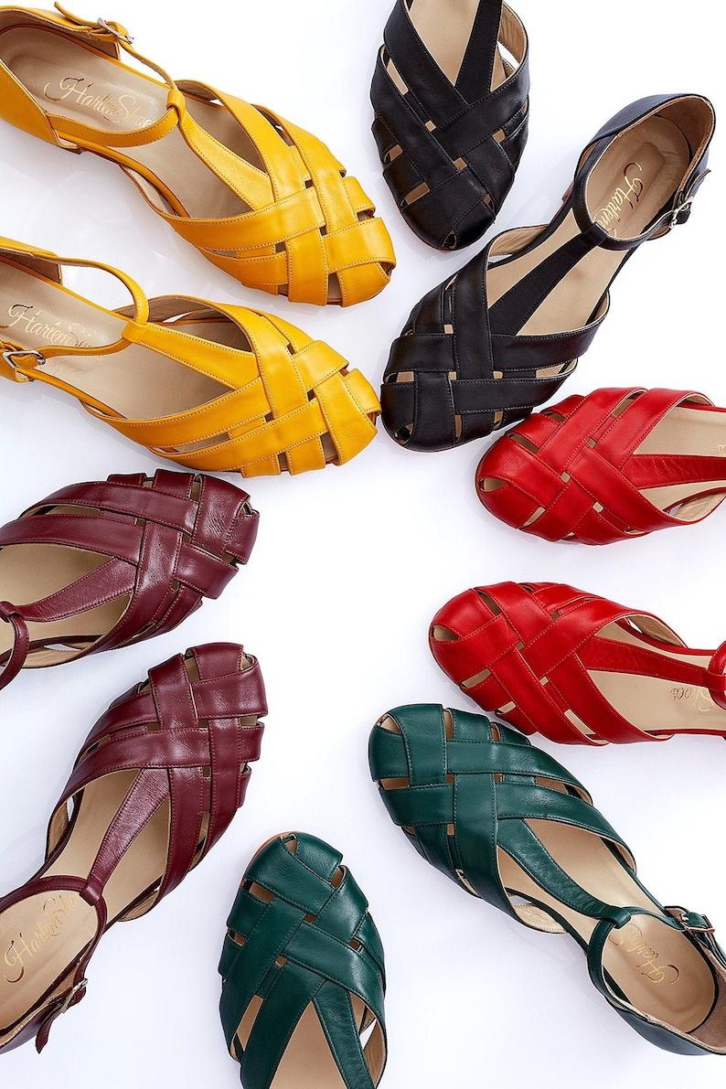 1940s Women's Footwear Women Swing Dance Shoes Summer black leather handmade by Harlem Shoes $202.15 AT vintagedancer.com
