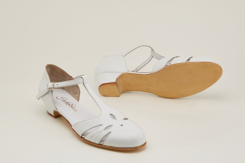 1930s Shoes – Art Deco Shoes, Heels, Boots, Sandals Women Swing Dance Shoes Rosy white leather handmade by Harlem Shoes $190.02 AT vintagedancer.com