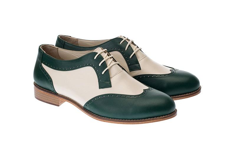 1970s Men's Clothes, Fashion, Outfits Men Swing Dance Shoes Men's Oxfords green & beige leather handmade by Harlem Shoes $200.80 AT vintagedancer.com