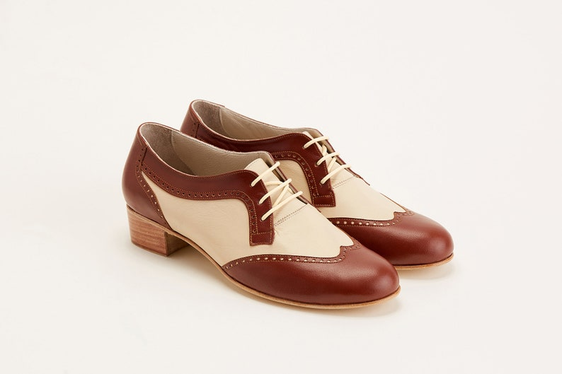 1930s Shoes – Art Deco Shoes, Heels, Boots, Sandals Women Swing Dance Shoes Women's Oxfords brown & beige leather handmade by Harlem Shoes $190.02 AT vintagedancer.com