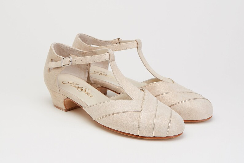 1930s Shoes – Art Deco Shoes, Heels, Boots, Sandals Women Swing Dance Shoes Sugar gold suede handmade by Harlem Shoes $190.02 AT vintagedancer.com