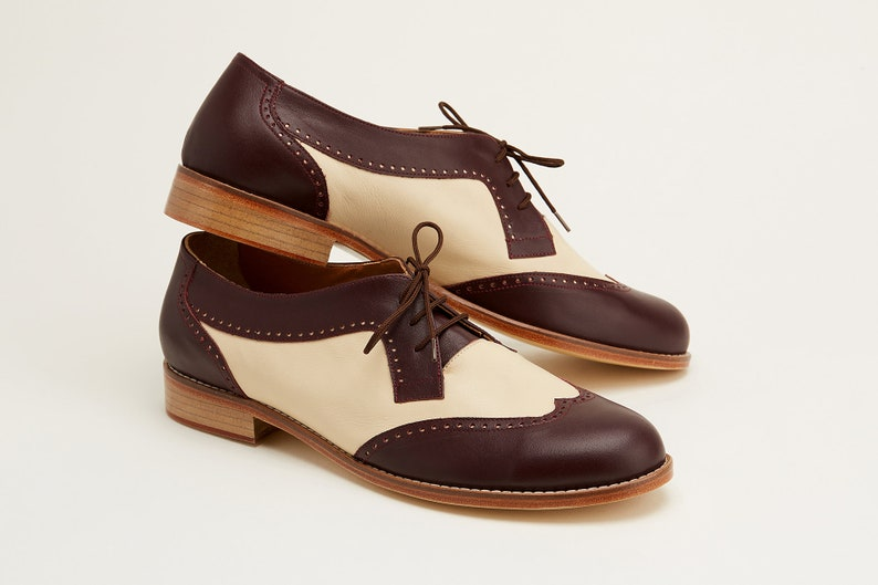 Easy 1940s Men's Fashion Guide Men Swing Dance Shoes Men's Oxfords bordeaux & beige leather handmade by Harlem Shoes $200.80 AT vintagedancer.com