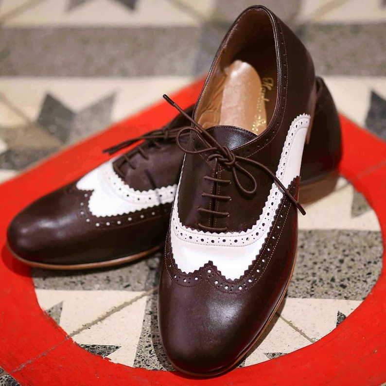 1950s Men's Shoes | Boots, Greaser, Rockabilly Men Swing Dance Shoes Men's Brogue dark brown & white leather handmade by Harlem Shoes $200.80 AT vintagedancer.com