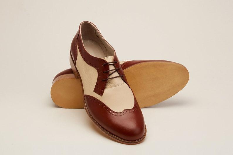 1940s Men's Shoes & Boots | Gangster, Spectator, Black and White Shoes Men Swing Dance Shoes Men's Oxfords brown & beige leather handmade by Harlem Shoes $200.80 AT vintagedancer.com