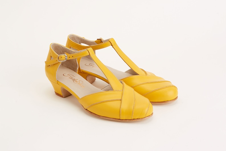 1930s Shoes – Art Deco Shoes, Heels, Boots, Sandals Women Swing Dance Shoes Sugar yellow leather handmade by Harlem Shoes $190.02 AT vintagedancer.com