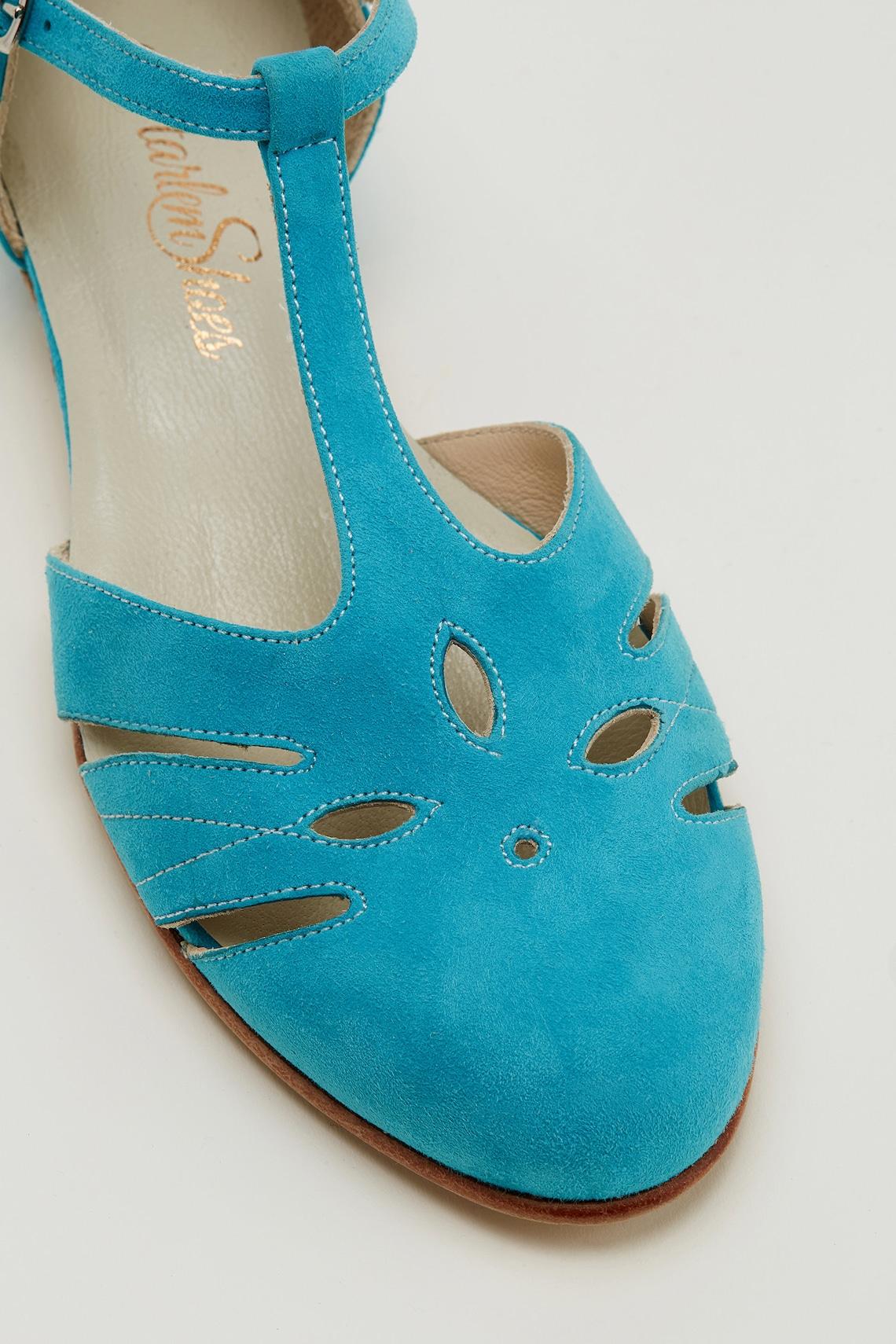 Mujeres Swing Dance Zapatos de ante azul rosado hechos a mano por Harlem Zapatos