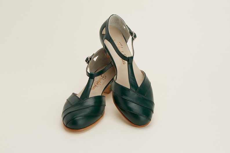 1930s Shoes – Art Deco Shoes, Heels, Boots, Sandals Women Swing Dance Shoes Sugar green leather handmade by Harlem Shoes $190.02 AT vintagedancer.com