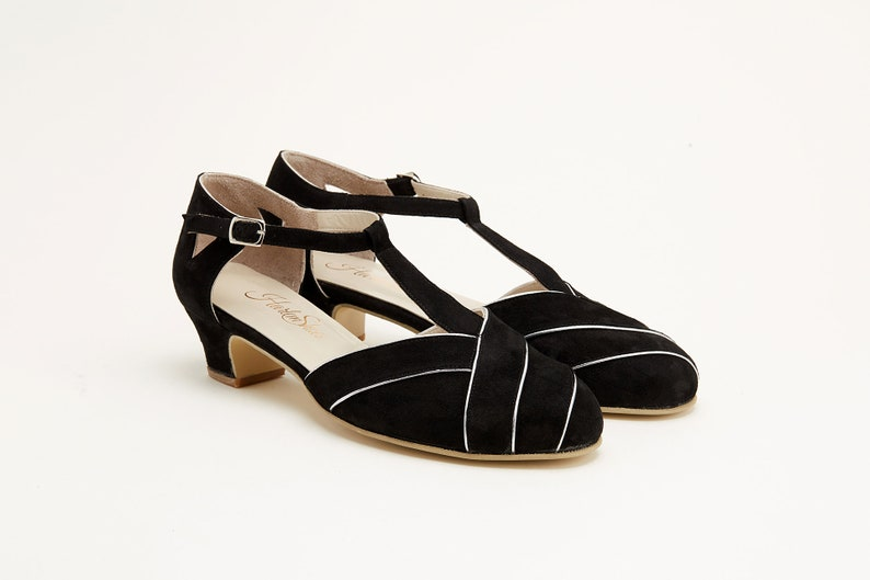 1930s Shoes – Art Deco Shoes, Heels, Boots, Sandals Women Swing Dance Shoes Sugar black & white suede handmade by Harlem Shoes $190.02 AT vintagedancer.com