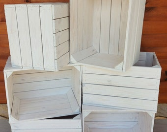 6  White Very Durable-Stable  Storage Wooden Fruit Apple Crates Boxes Home Decor-Clean !