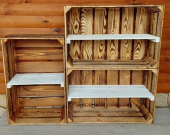 1,2,3,4,5 Solid&Strong Storage Wooden Crates Apple Fruit Storage Box Shelf Decor White - Clean - Burn effect - Crate  - Record Crates