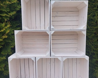 White Amazing Strong Rustic Burnt Smaller Natural Storage Wooden Fruit Apple Crates Box-Clean!