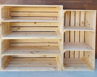 1,2 Big short Solid&Strong Storage Wooden Crates Apple Fruit Storage Box Shelf Decor - Clean - Burn effect , long short shelf