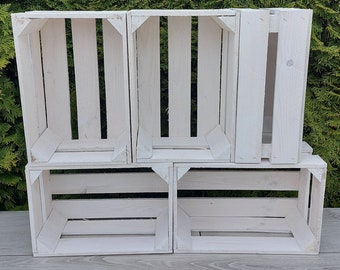 2-12  White Strong Rustic Burn Effect Smaller Natural Storage Wooden Fruit Apple Crates Box-Clean!