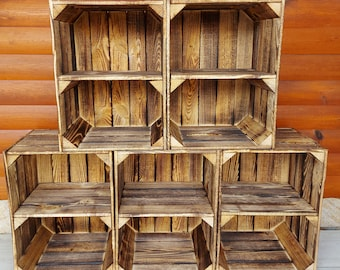 1-8 Solid&Strong  Long Short shelves Storage Wooden Crates Apple Fruit Storage Box Shelf Decor - Clean - Burn effect - Crate - Record Crates