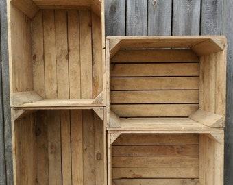 6 VINTAGE WOODEN APPLE CRATES STORAGE BOX FRUIT CRATES BOX SHABBY CHIC