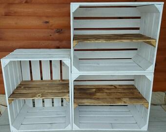 1,2,3,4 Solid&Strong Storage Wooden Crates Apple Fruit Storage Box Shelf Decor - Clean - Burn effect ,Grey, White,Mint- long short shelf
