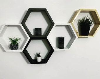 Hexagon Shelves Amazing set of 3 three honeycomb wood design feature living room white ,black ,natural