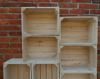 2,3,4,5,6,7,8,9,10 Strong&Solid Storage Wooden Crates Fruit Apple Box Decor-Clean