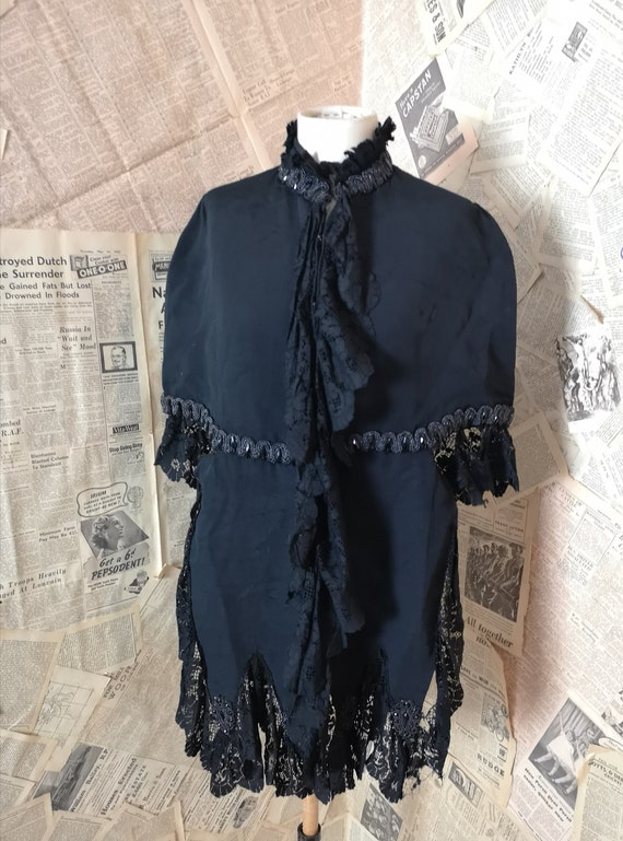 Victorian mourning mantelet, Cape, cut steel