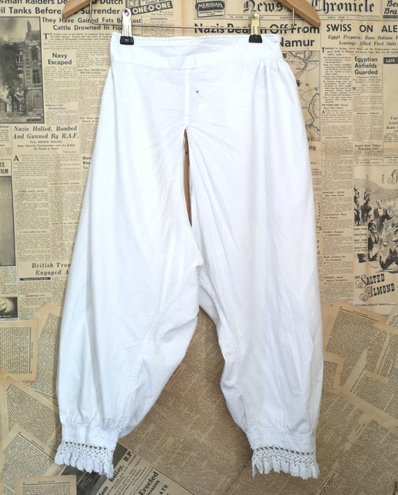 Antique Victorian cotton bloomers, pantaloons