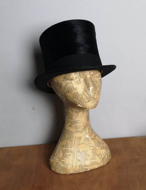 Antique silk velvet top hat, boxed, Edwardian