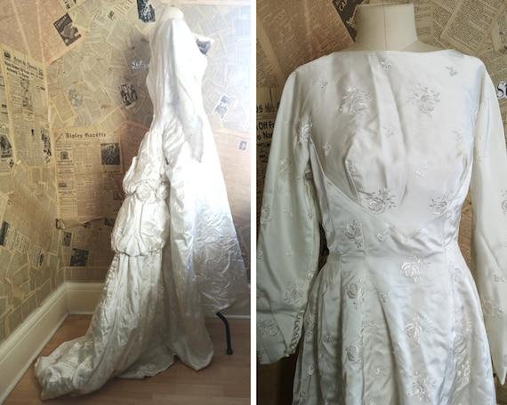 Vintage 50's satin wedding dress, rose bustle