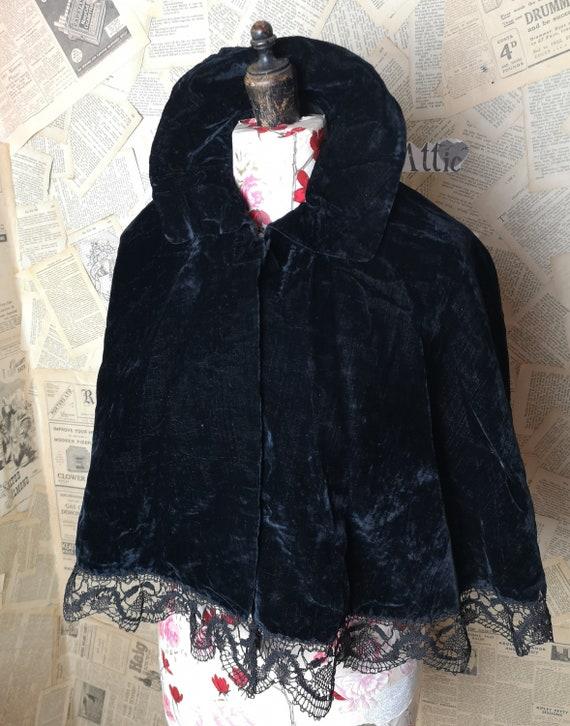 Victorian black silk velvet cape