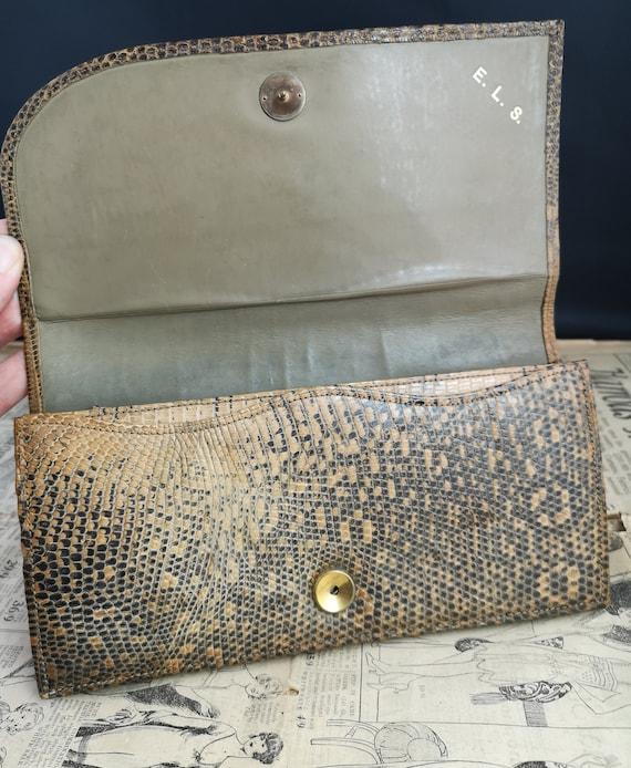 Vintage faux snakeskin clutch purse, 1940s - image 8