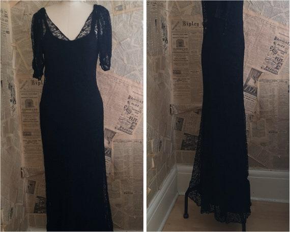 Vintage 1930's Black lace dress, bias cut gown, si